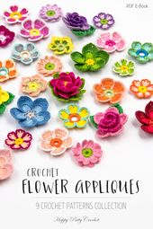 9 Crochet Flower Sample Assortment – Crochet Flower Appliques Patterns Bundle