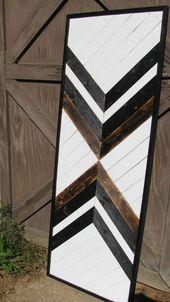 Handmade reclaimed wood snowcapped mountain peaks wall art