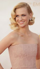 The Mad Men star updated Old Hollywood-glam curls for the modern era, wearing them in an asymmetrical bob with a deep, dramatic side part.  - GoodHous...