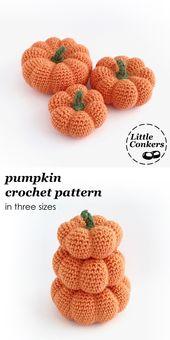 Häkelanleitung für Kürbisse in drei Größen. Leicht zu befolgende, vollständig bebilderte …   – Crochet Patterns by Little Conkers