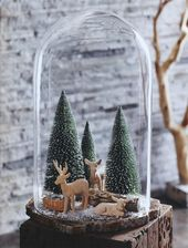 Magical Winter Wonderland Decorative Glass Dome with Christmas Trees