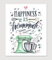 Küche Wand Dekor – Küche Schild – Bäckerei – Bäckerei Kunst – für die Baker – Glück ist selbstgemacht – Kitchenaid