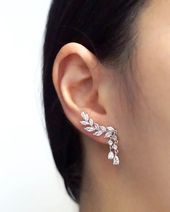 Rose Gold Climber Earrings | Brides Bridesmaid Bridal Wedding Jewelry – For Beauty's Sake