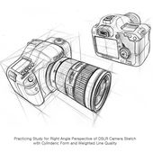 "Won Kim on Instagram: ""Practicing Study Drawing of Right Angle Perspective with Cylinderic Form for DSLR Camera sketched by Lee Eun Soo #art #artdra…"