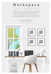 Illustrator Workspace Interior Design Modern Workspace Banner Stock Vector - Illustration of indoor, d...