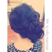 Back view of old Hollywood glam upstyle #updo #glamour #oldhollywood #sideswept