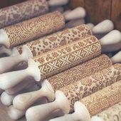 Ukrainian style Cookie Stamp, Pixelart Engraved Pattern Rolling Pin, Ornament Embossing Rolling Pin, Folk Motive Cookie roller gift