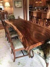 Live edge dining table Live edge with a hand crafted live edge base, unique dini…