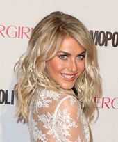 Julianne Hough Long Wavy Formal Hairstyle with Side Swept Bangs Champagne Blonde Hair Color with Light Blonde Highlights