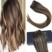 Sunny Light Brown Highlights Hair Extensions Clip …