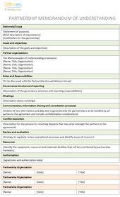 Memorandum Of Understanding Template For Partnership  Jaura Prime