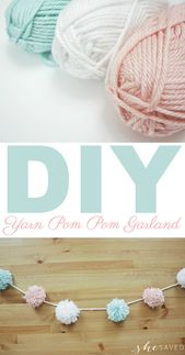 Easy DIY Party Yarn Pom Pom Garland Craft