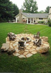 Setzen wir uns neben die Feuerstelle im Garten hin!