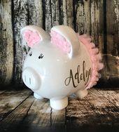 Großes personalisiertes rosa Sparschwein, rosa Ballettröckchen, Sparschwein für Mädchen, Geburtstag, kundenspezifische Banken, erstes Sparschwein des Babys   – Products