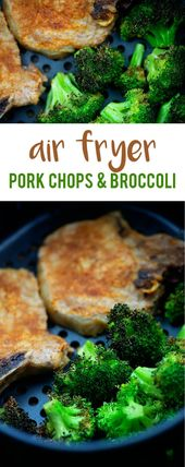Air Fryer Pork Chops and Broccoli! Perfectly juicy pork chops and roasted brocco…
