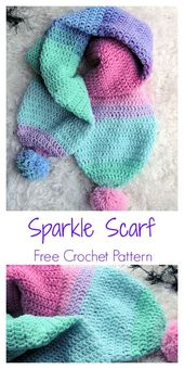 Easy Sparkle Double Thick Scarf Free Crochet Pattern for Beginners