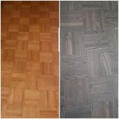 Before and after refinished parquet flooring From natural to grey