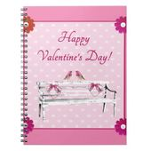 Valentine, Pink and White Birds on Bench, Heart Notebook | Zazzle.com