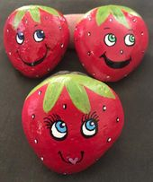 Strawberry Pals Painted Rocks, Story Stones, Garden Stones, Toy and Play Set, Party Favors & Gift – Steine bemalen