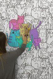 Lustige Tapete mit Muster ausmalen und Wände kreativ gestalten – Kunst: Ideen für Kinder und Künstler