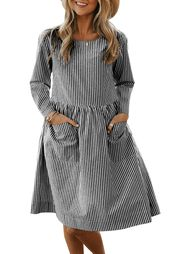 Black Pinstriped Pocket Casual Dress