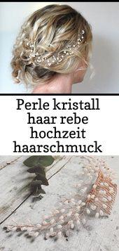 Pearl crystal hair vine wedding hair accessories simple elegant flexible halo wr … – #simple #el