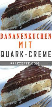 Bananenkuchen mit Quark-Creme #Bananenkuchen #Quar…