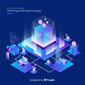 Isometric concept of people working with technology Vector | Free Download