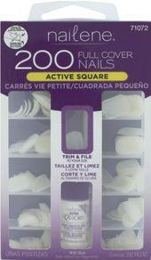 Nailene Full Cover Nails Active Square With Glue 200 Nails Nail Kit Fake Nails Nails