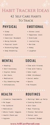 42 Habit Tracker Ideas to focus on Self Care