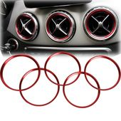 5pcs Red Air Outlet Ring Cover Trims For Mercedes Benz A Class