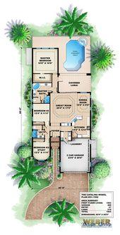 Mediterranean House Plan: Narrow Lot Mediterranean Home Floor Plan