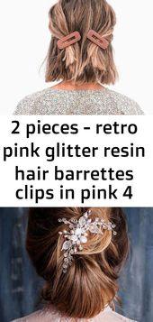 2 Stück - Retro Haarspangen aus pinkfarbenem Glitzerharz in pink 4