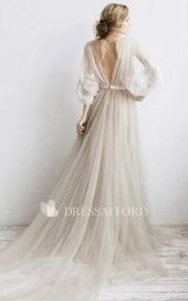 Flowy Phantasm Tulle Pleated Gown With Floral Appliques And Deep-V Again