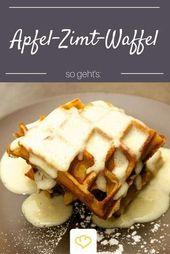 Waffles de manzana y canela con salsa de vainilla   – Kochrezepte