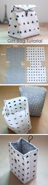 Stoffgeschenktüte-Tutorial – #Bag #Fabric #fabriquer #Geschenk #Tutorial
