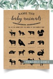 Name the Baby Animals Game, Baby Shower Animal Game, Baby Shower Game, Rustic Baby Shower, Country Baby Shower, Baby Shower Ideas, Woodland