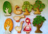 Aus Holz 6 Stück SET / / Mädchen / / Gans / / Baum Puzzle / / Birke, Geschenk für Kleinkinder / / Tier Figur / / Waldorf Spielzeug / / Apple / / Kiefer / / Eiche