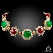 VAN CLEEF & ARPELS Carved Emerald, Ruby,Diamond Necklace-Bracelet Combination