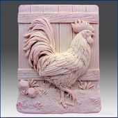 Pretty Rooster – Detail of a High Relief Sculpture – Silicone Soap / Gypsum / Clay Mold – Buy from original designer and manufacturer   – 皮雕