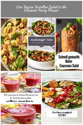 Our Tuscan Tortellini Salad Is the Ultimate Party Pleaser  – Delish.com salat Ou…