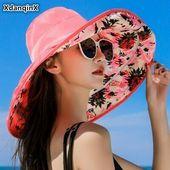 XdanqinX Foldable Summer Womens Hat Large Visor Sun Hats Removable Sunscreen #f – Frauen Hut
