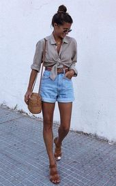Node Quarter Length Button-Up | Lightweight Rolled Denim Shorts | Brown Belt | Brown sandals | Whicker Cro …