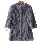 Ethel Anderson 100% Real Rabbit Fur Coat Women's O-Neck Long Rabbit Fur Jacket 3/4 Sleeves Vintage Style Leather Fur Outwear - Khaki L Bust 92CM 17