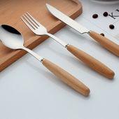 Edelstahl Abendessen Messer und Gabel Set Besteck Geschirr aus Holz Handsteak Käse …   – Besteckset Modelle