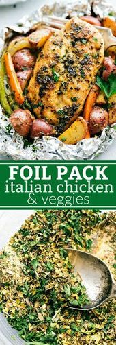 FOIL PACK ITALIAN CHICKENS AND VEGETABLES   – Food – Delicious Recipes – #CHICKE…