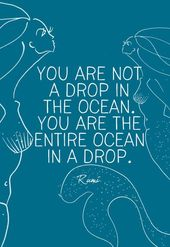 """""""You aren't a drop within the ocean. You're the complete ocean in a drop."""" Rumi"""