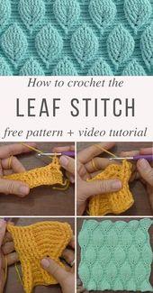Crochet Gate: Leaf Stitch Crochet Pattern – video tutorial – no written pattern, … – hooking ideas