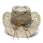 Women's men's vintage wide brim straw sun beach cowboy cowgirl western hat sun hat turquoise braid band – Products