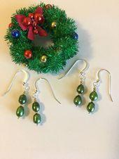 Grüne Perle Ohrringe Weihnachten Urlaub Schmuck handgemachte Gold und Grün zie…
